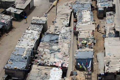 A section of the Jamestown slum on the Accra coast